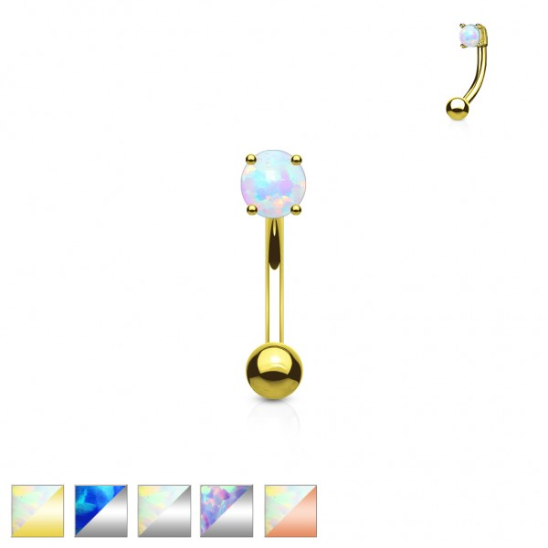 Tapsi´s Coolbodyart® Curved Barbell Augenbraue Chirurgenstahl 316L synth.Opal rund