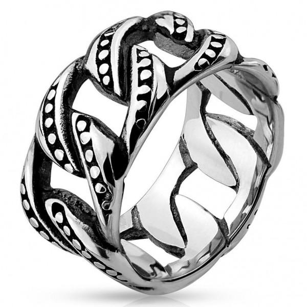 AF Edelstahl Ring silber 10,8mm breit Kettenglieder 60 (19) - 69 (22)