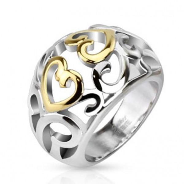 """Edelstahl Unisex Ring """"Glänzende wirbelnde Herzen"""""""