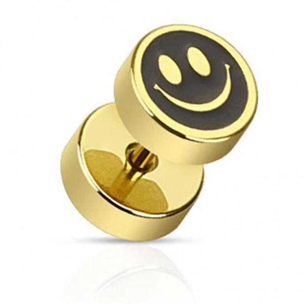 "Coolbodyart Unisex Fake Plug vergoldet Smiley ""Face"" 1,2mm"