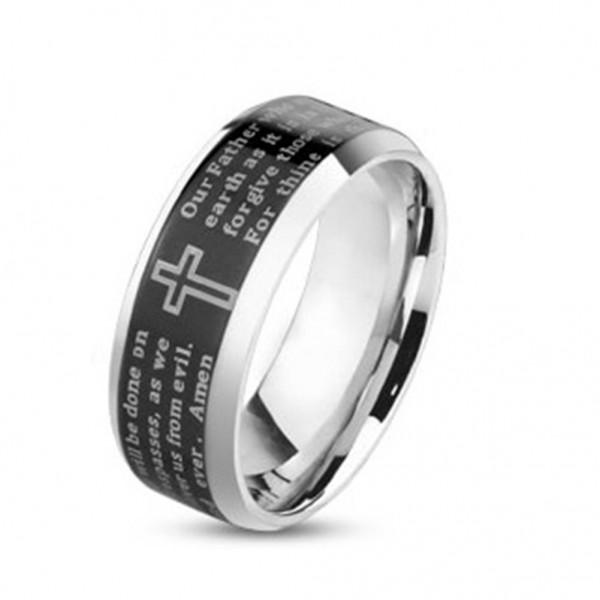 Ring Edelstahl silber schwarz 6/8mm breit Vaterunser Lord's Prayer Amen