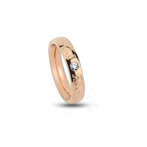 Titan Ring roségold 4mm breit Gravur Forever Love mit Zirkonia 47 (15) - 57 (1