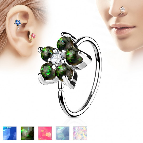 Tapsi´s Coolbodyart® Hoop Ring für Nase/Ohr silber mit Zirkonia und Opal Blume