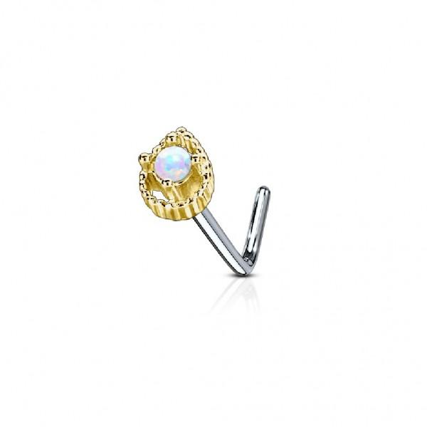 Tapsi´s Coolbodyart®| Nasenpiercing L Stecker Gebogen Chirurgenstahl 316L Silber,Gold,Rosegold 6mm O