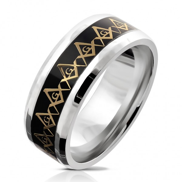 Ring Fingerring Edelstahl silber Freimaurer schwarz-gold Größe 9/10/11/12/13