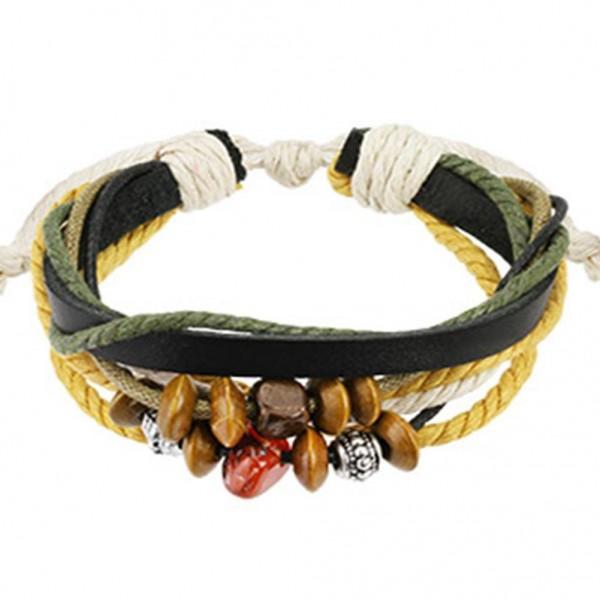 Armband schwarz Leder Bettelarmband Beads Mix Länge in mm: 190