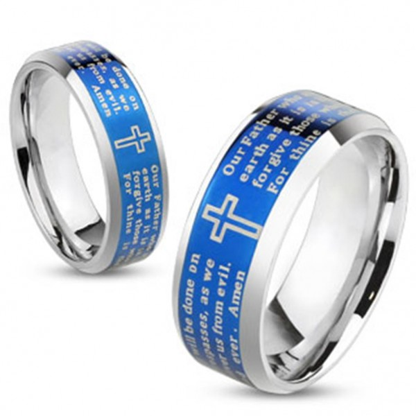 Coolbodyart Unisex Ring Edelstahl silber blau 6/8mm breit Vaterunser Lord's P...