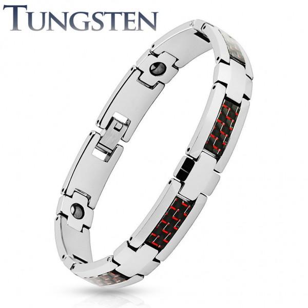 Armband silber rot schwarz Tungsten Wolfram Carbon Inlay Länge in mm: 200