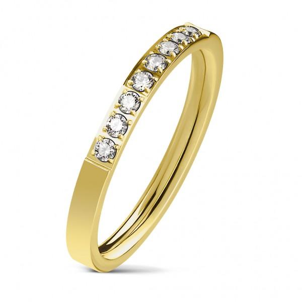 Tapsi´s Coolbodyart®| Damen Fingerring Bandring Edelstahl Gold/Silber/Roségold Zirkonia Linie Zentru