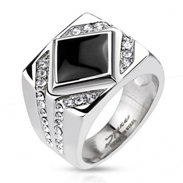 Unisex Ring Edelstahl diamantförmiger Onyx mit klaren Zirkonia