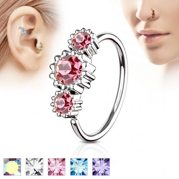 Tapsi´s Coolbodyart® Hoop Ring für Nase/Ohr silber mit Zirkonia