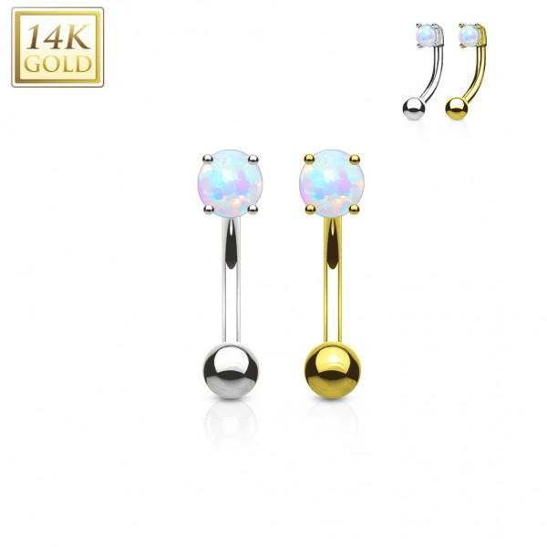 Augenbrauenpiercing Barbell 14 Karat gold mit synthetischem Opal