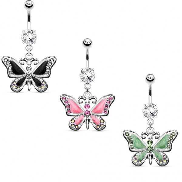Chirurgenstahl Bauchnabelpiercing silber Schmetterling aus Zirkonia