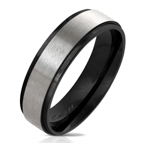 Fingerring aus Edelstahl in schwarz mit gebürst. Edelstahl-Zentrum versch Größen