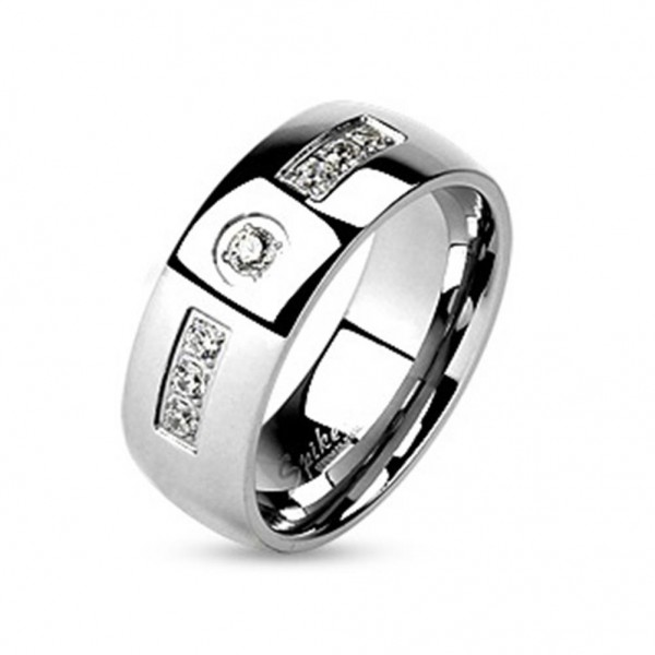 AF Edelstahl Ring silber 6-8mm breit eingelassenem Stein 47 (15)-66 (21)