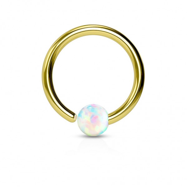 Tapsi´s Coolbodyart® Hoop Ring Chirurgenstahl gold mit Opal in weiß
