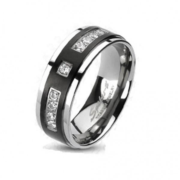 Ring Titan silber schwarz 6/8mm breit Multi Zirkonia 47 (15) - 69 (22)