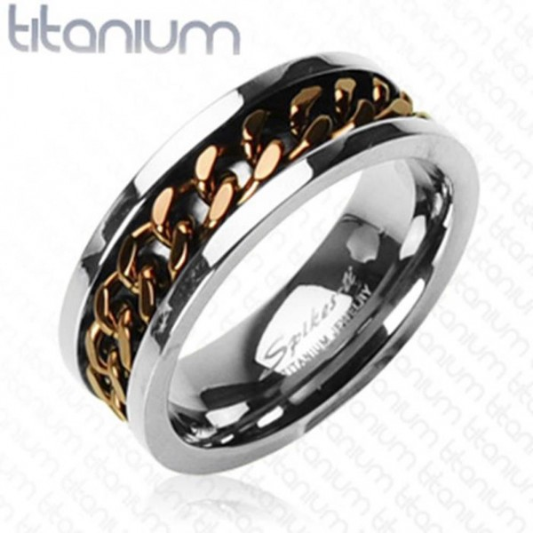 "Herren Damen Ring Fingerring Titan ""Coffee Chain Inlay"""