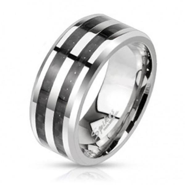 """Herren Damen Ring silber """"Double Black Carbon"""" Edelstahl"""