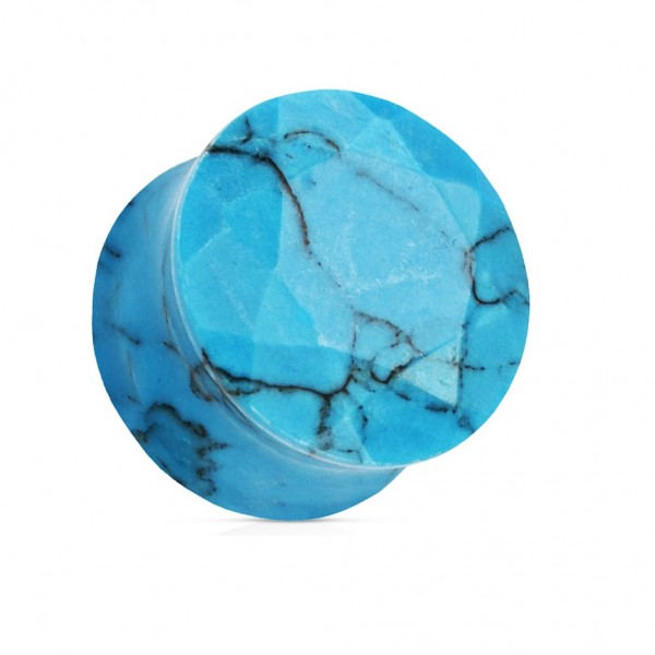 Coolbodyart blauer Türkis Halbedelstein single Plug facettiert geschliffen
