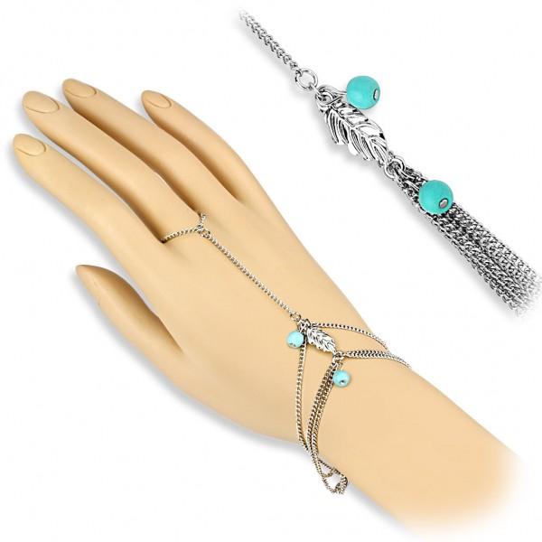 Coolbodyart Damen Armband Sklavenarmband Vintage Style mit Charm Blatt und tü...