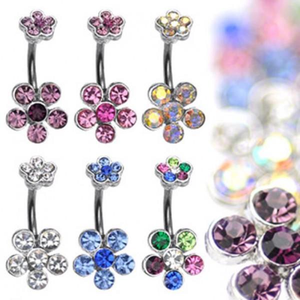 "Bauchnabelpiercing ""Multi Flower"" Zirkonia 6 Farben"