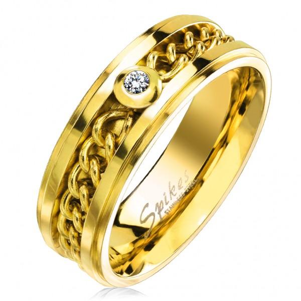Tapsi´s Coolbodyart®| Fingerring Statementbandring Edelstahl Gold/Silber Kettenglieder Inlay Zirkoni