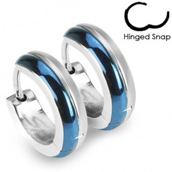 1 Paar silber/ blaue Ohrringe Creolen Chirurgenstahl Blue IP zweifarbig