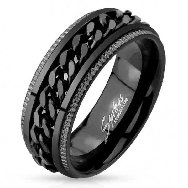 Edelstahl Ring schwarz 8mm breit Spinner Kette 60 (19) - 72 (23)