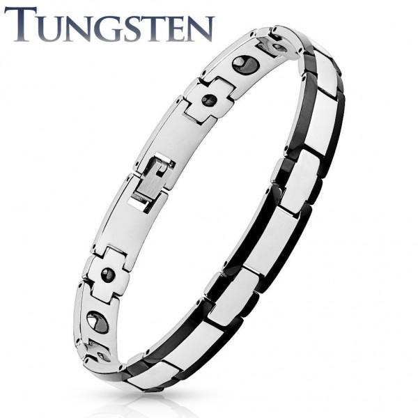 Armband silber schwarz Tungsten Wolfram Rechteck Länge in mm: 210