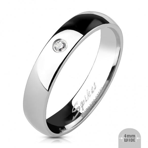 Klassik Damen Ring silber poliert Zirkonia 8 Gr Edelstahl