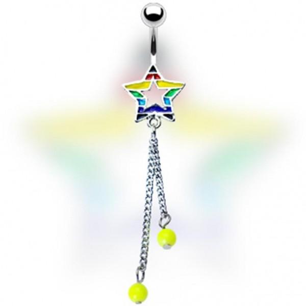 """Bauchnabelpiercing """"Regenbogenstern mit Perlen """""""