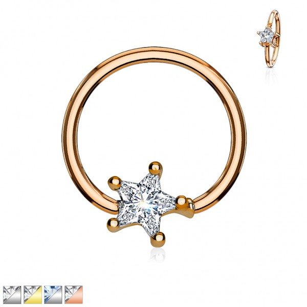 Tapsi´s Coolbodyart® Piercing Captive Ring Chirurgenstahl silber,gold,roségold mit Zirkonia