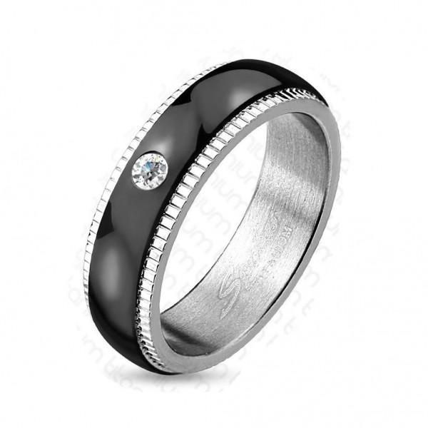 Titan Ring silber 6mm breit Paaring Band schwarz und Steine 60 (19) - 66 (21)