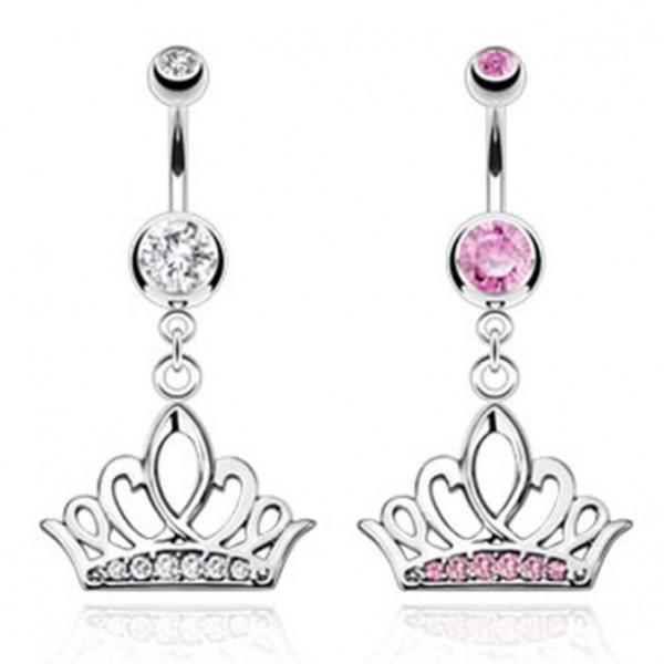 "Bauchnabelpiercing ""Tiara Crown"" Big Zirkonia 2 Farben"