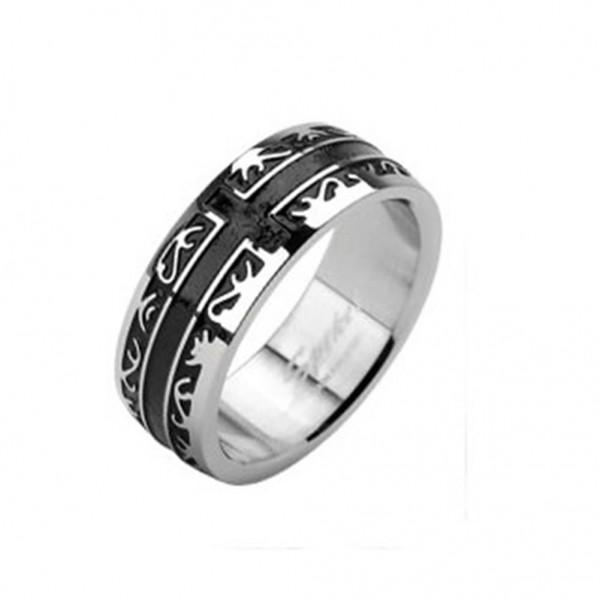 Edelstahl Unisex Ring silber 6 oder 8mm breit Tribal Kreuz Line
