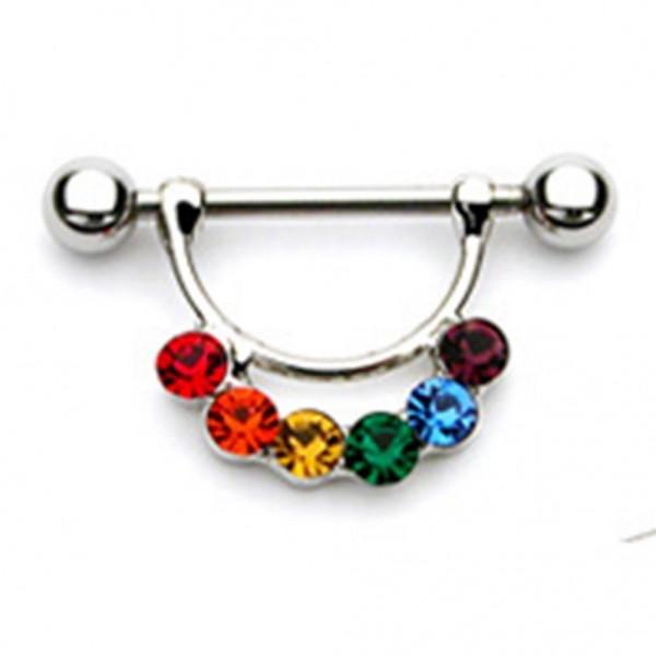 "Brustwarzenpiercing ""Gay Pride"" Farben des Regenbogens"