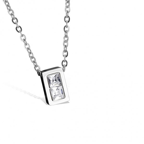 Tapsi´s Coolbodyart®| Halskette Edelstahl 316L Anhänger Rechteck, Zirkonia Klar