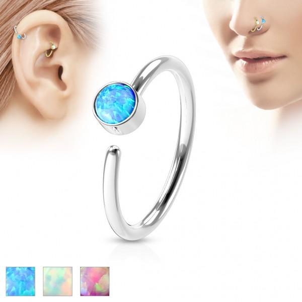Tapsi´s Coolbodyart® Hoop Ring Piercing Edelstahl-Chirurgenstahl für Ohr und Nase in Silber mit Opal