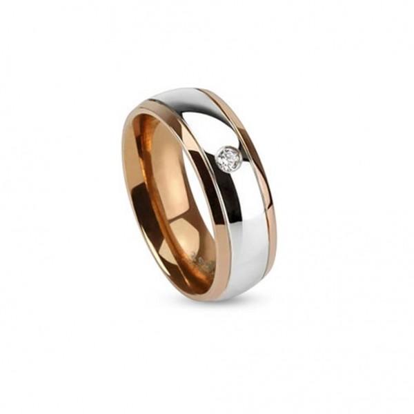 AF Edelstahl Ring roségold 6mm breit silber Streifen Steine 47 (15) - 57 (18)