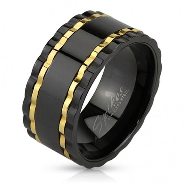 Coolbodyart Edelstahl Unisex Ring schwarz Wavy Edge Gold Line und Außenring