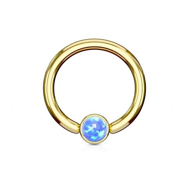 Ring mit Opalimitation Gold IP über Chirurgenstahl Augenbrauen Lippen Brustpiercing