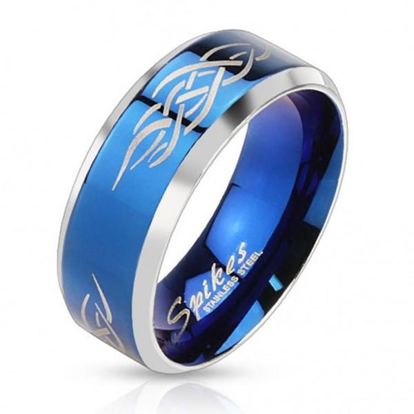 Coolbodyart AF Edelstahl Unisex Ring silber blau 8mm breit Tribal Line