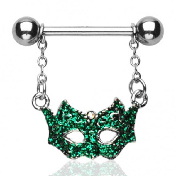 Brustwarzenpiercing grüne Maske Line Intim Anhänger