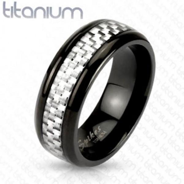 "Titan Herren Damen Ring silber ""Silver Carbon Fiber Inlay"""