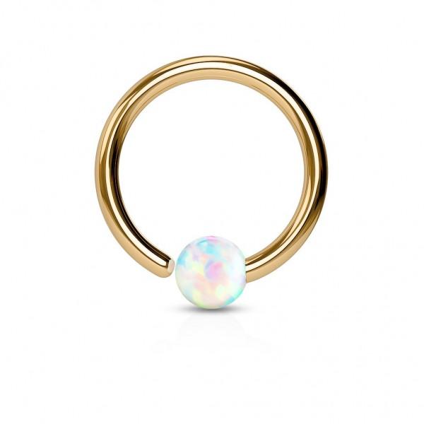 Tapsi´s Coolbodyart® Hoop Ring Chirurgenstahl roségold mit Opal in weiß