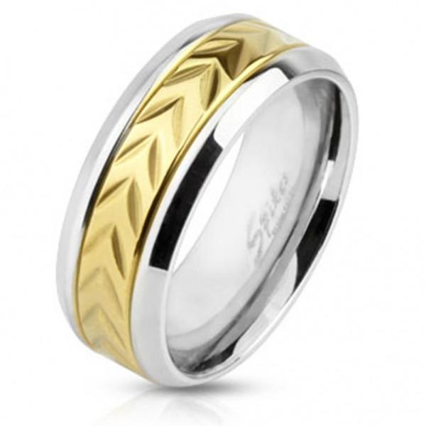 Ring silber 8mm breit goldenem Center eingravierten Pfeilen 60 (19) ? 69 (22)