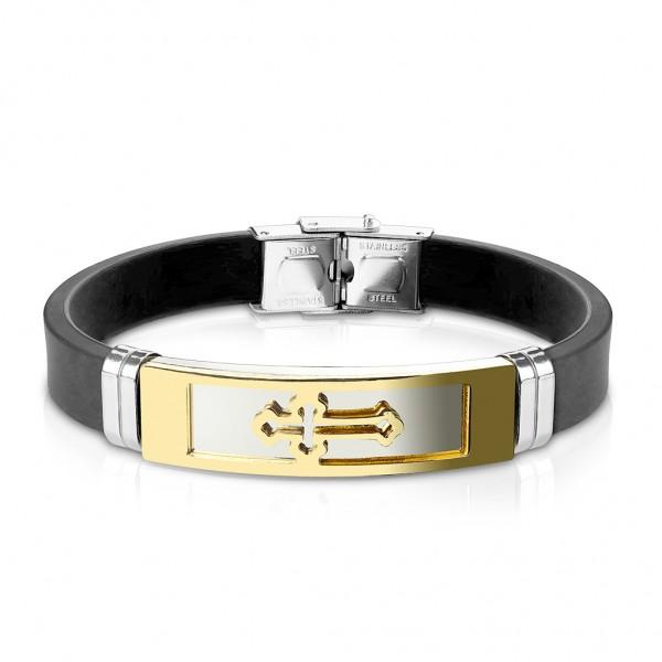 Tapsi´s Coolbodyart®| Statement Schildarmband Silikon Schwarz ID Platte Gold,Schwarz,Silber Kreuz,Sk