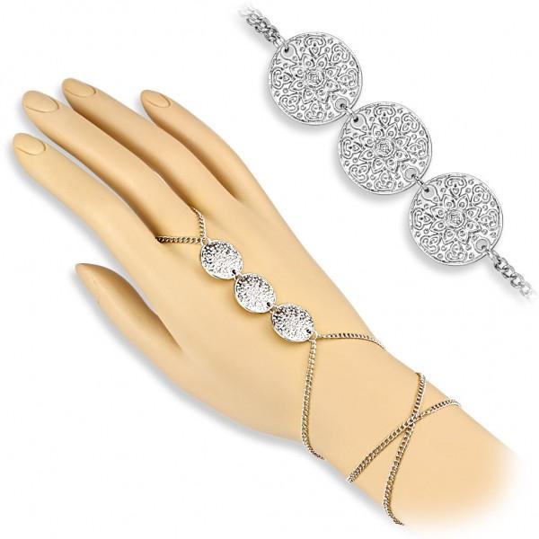 Coolbodyart Damen Armband Sklavenarmband Vintage Style mit 3 fachem Lotus Cha...