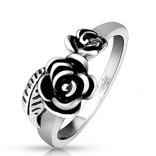 Edelstahl Ring silber 8,4mm breit Rosenblüten und -blätter 50 (16) - 61 (19,5)